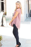 Pink Lace Short Sleeve Top with Round Hem Fullbody Left Side View