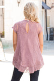 Pink Lace Short Sleeve Top with Round Hem Close Up Back View