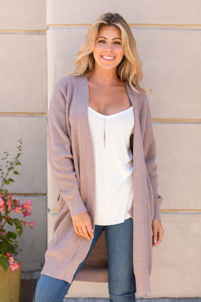Crazy For You Sweater Cardigan - Coffee