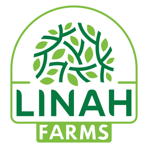 Linah Farms Logo containing the words Linah Farms and image of leaves and tree branches