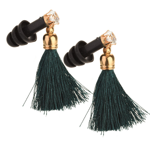 Forest Green Tassel Rhinestone Black Earplugs