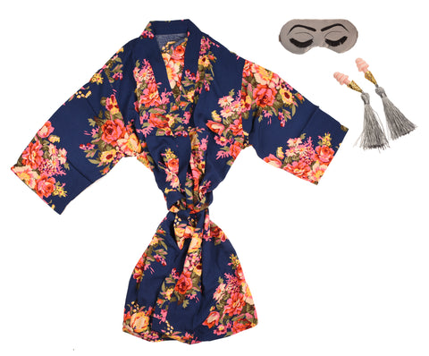 Floral Satin Robe + Sleep Mask + Earplugs