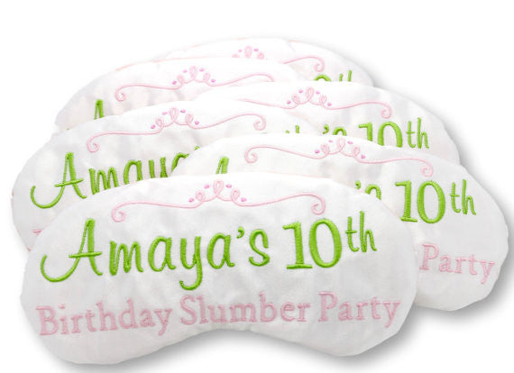 Custom Birthday Slumber Party Favors Sleep Masks Personalized in Pink and Green