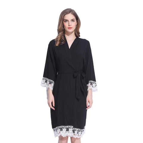 Lace Trimmed Cotton Robe