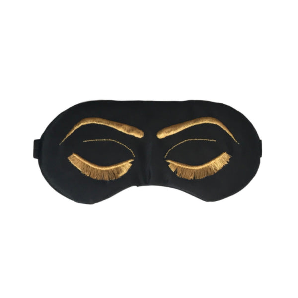 Vintage Glam Eyelashes Sleep Mask with Black and Metallic Gold
