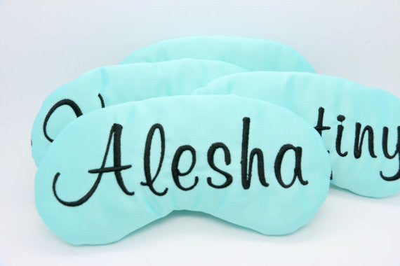 Custom Colors Satin Sleep Mask Personalized Monogram Embroidered in Lily Script
