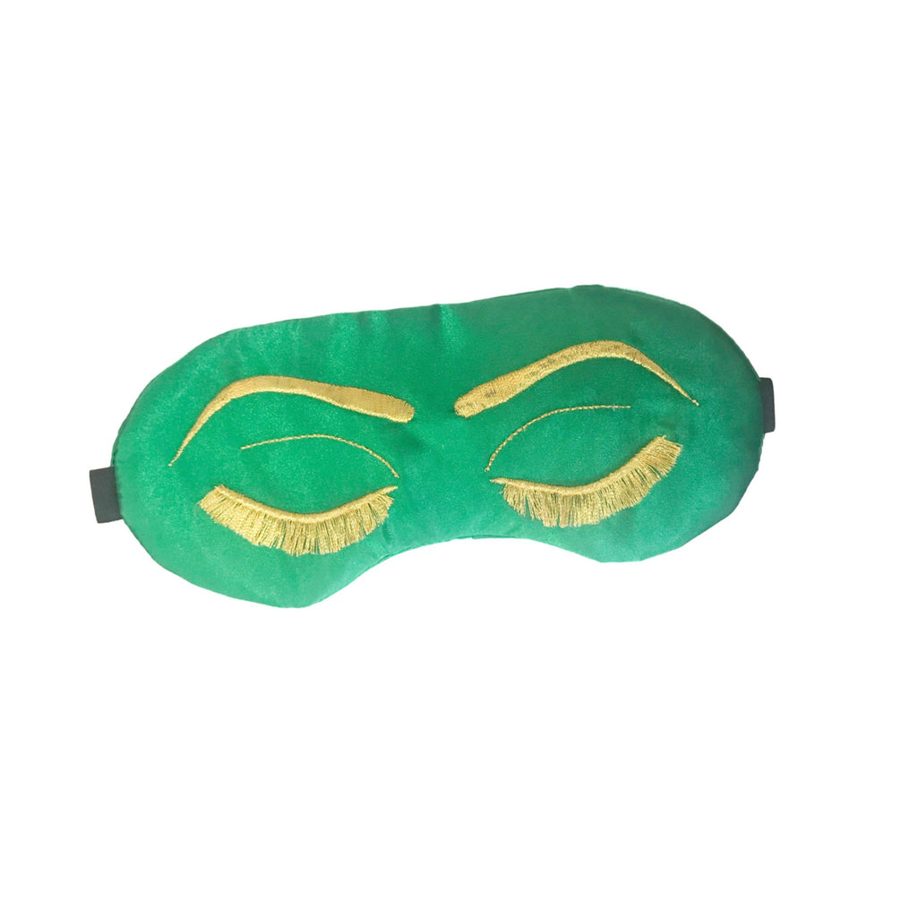 Vintage Glam Eyelashes Sleep Mask with Emerald & Metallic Gold