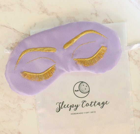 Breakfast at Tiffany's Sleep Eye Mask Inspired by Holly Golightly in Lavender and Metallic Gold