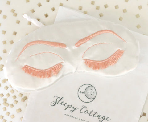Breakfast at Tiffany's Sleep Eye Mask Inspired by Holly Golightly in White and Light Coral