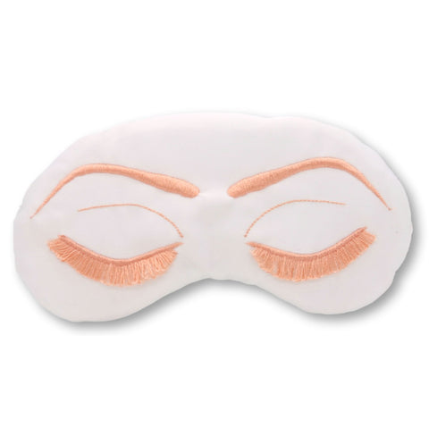 VINTAGE GLAM EYELASHES SLEEP MASK - WHITE & CORAL