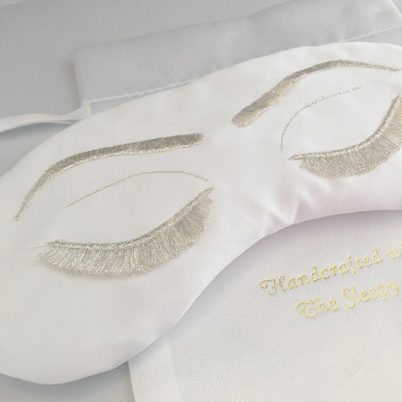 WHITE WITH SILVER BRIDE EYE MASK