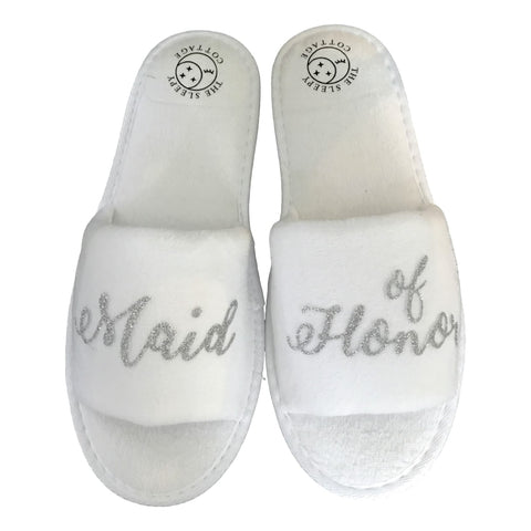 Wedding Party Slippers- Silver