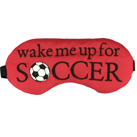Wake me up for Soccer Satin Sleep Eye Mask in Red - Sleep Mask