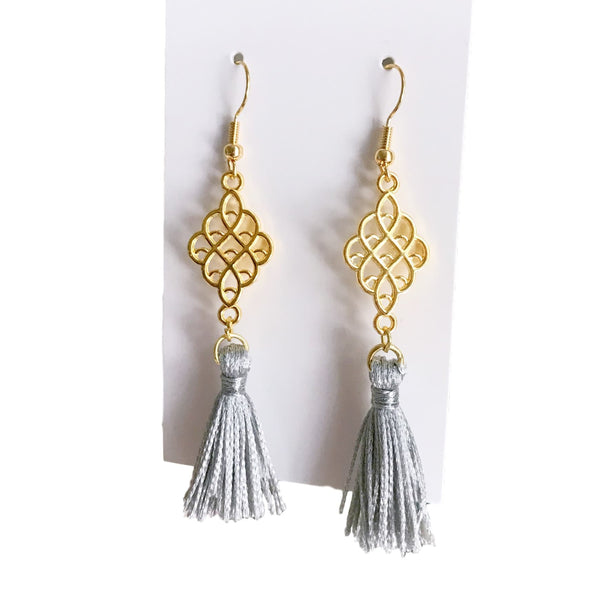 Gold and Gray Tassel Earrings