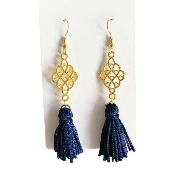 Navy Blue and Gold Tassel Earrings