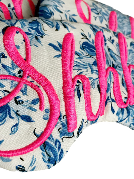 SHHH...SLEEP MASK IN DAMASK AND NEON PINK