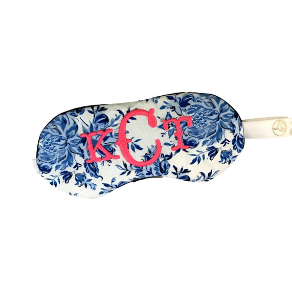 Gypsy Chic Sleep Eye Mask in Neon Pink and Blue Damask - Sleep Mask
