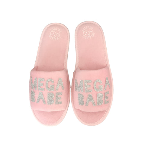 Mega Babe House Slippers in Pink and Silver - Sleep Mask