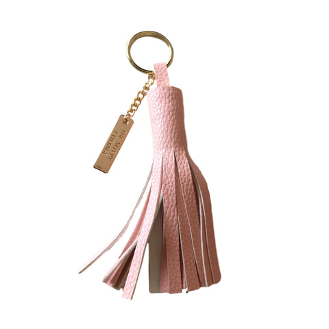 BLUSH VEGAN LEATHER TASSEL KEYCHAIN