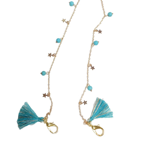 Lucky Star Face Mask Chain Necklace with Tassels