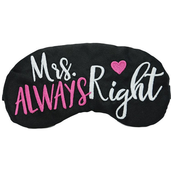 Mr. Right and Mrs. Always Right Sleep Masks His and Hers Wedding Honeymoon Anniversary