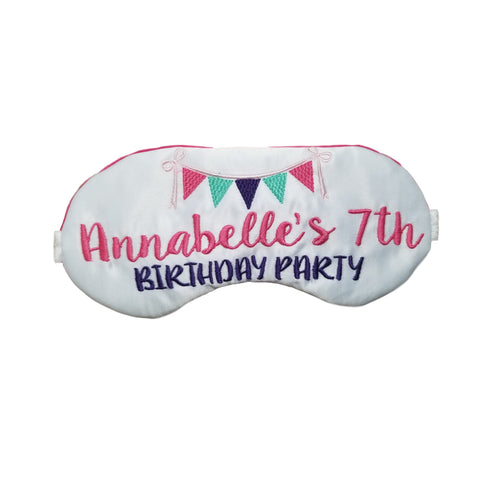 Personalized Birthday Banner Party Sleep Mask for Slumber Parties