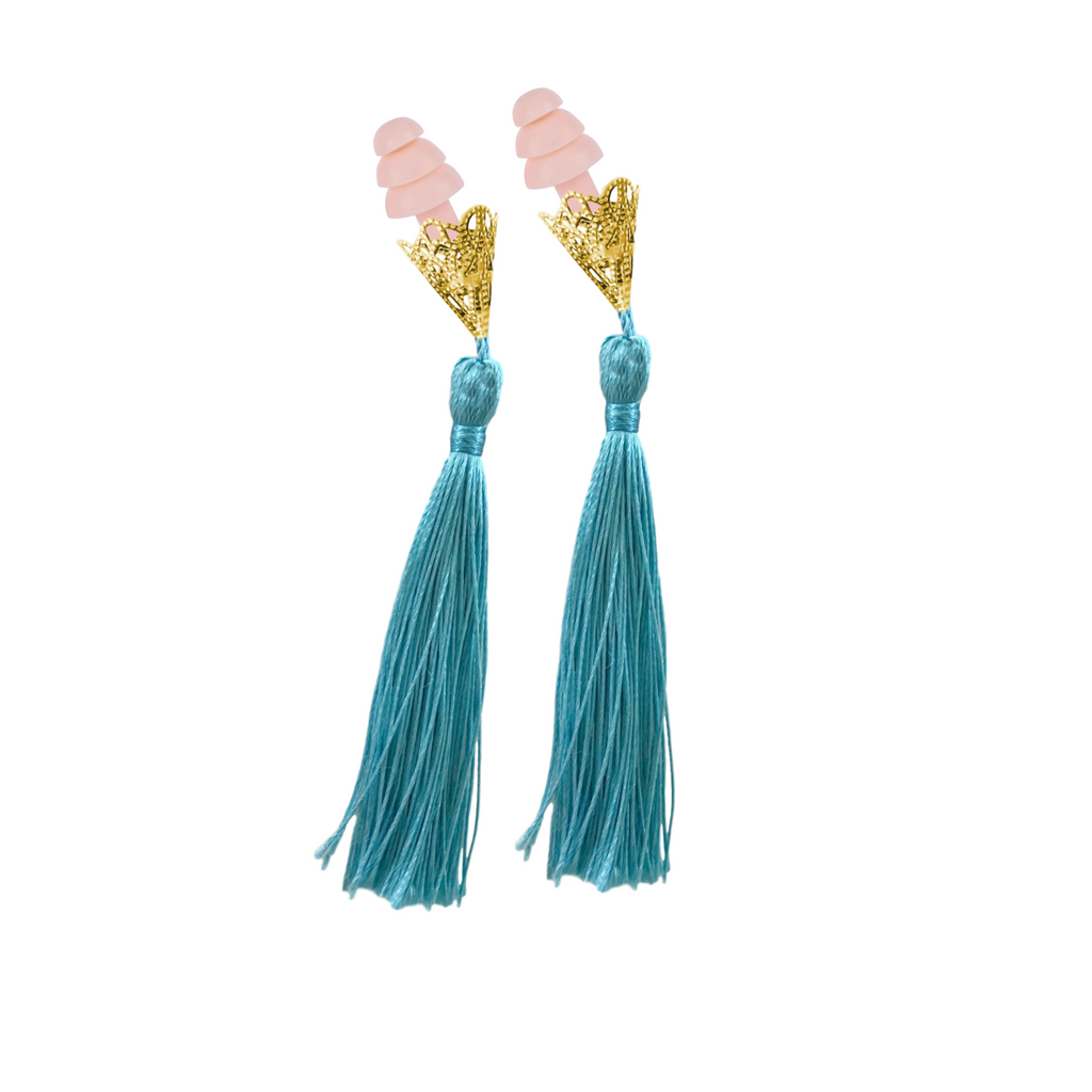 BREAKFAST AT TIFFANY'S INSPIRED AQUA TASSEL SLEEPING EARPLUGS
