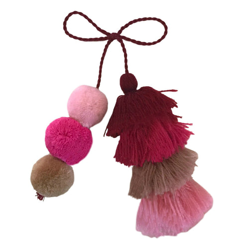 Copy of Colorful Pom Pom Tassel Bag Charm- Quick Ship