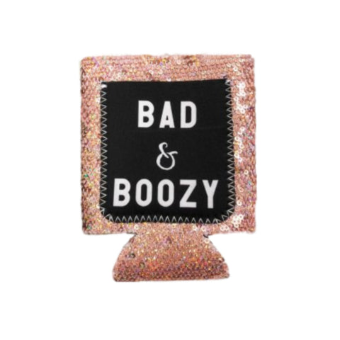 Sequined Bad and Boozy Koozie