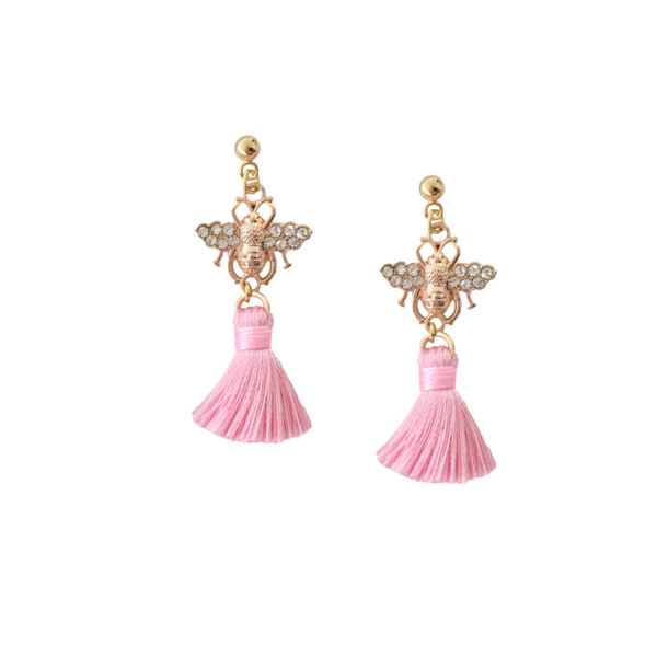 Honey Bee Pink and Gold Tassel Earrings