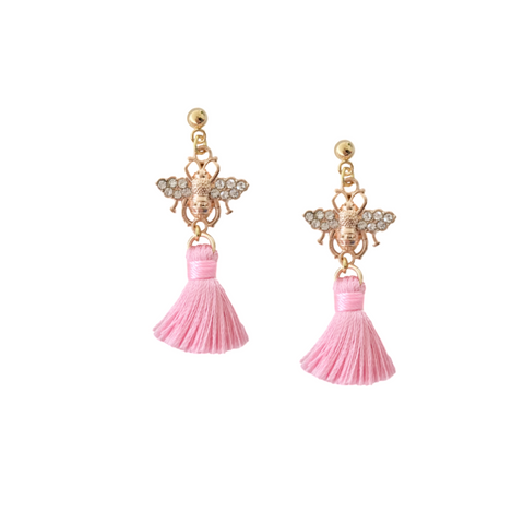 Pink and Gold Honey Bee Tassel Earrings
