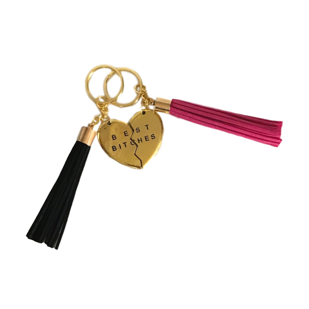 Best Bitches Tassel Keychain Set