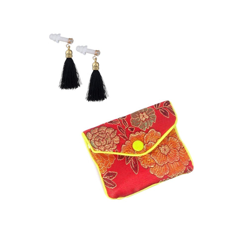 Black Tassel Earplugs with Brocade Case