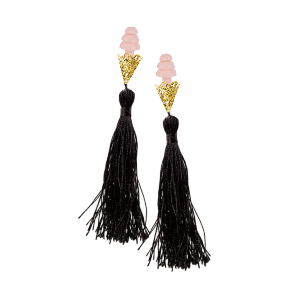 BREAKFAST AT TIFFANY'S INSPIRED BLACK TASSEL SLEEPING EARPLUGS