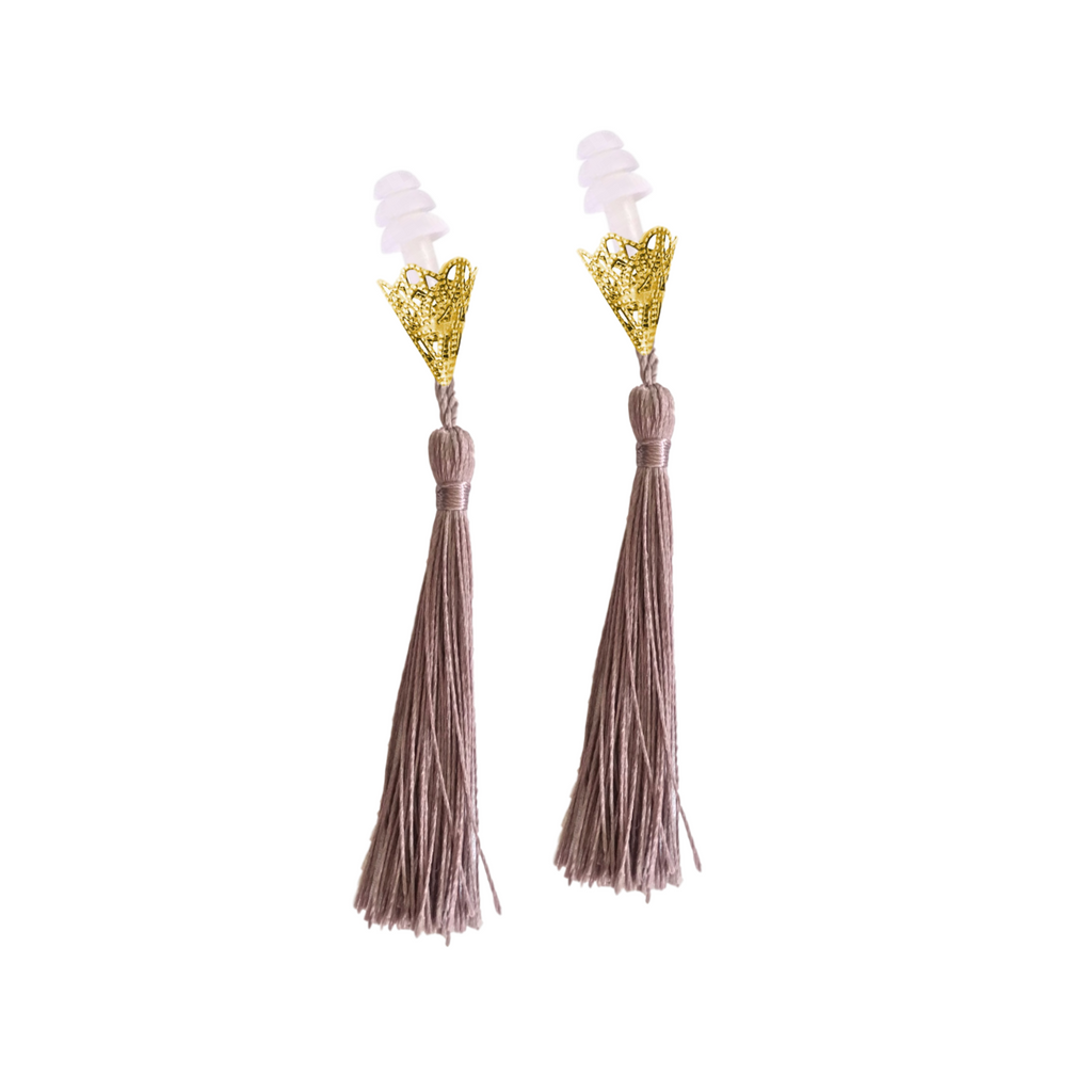 BREAKFAST AT TIFFANY'S INSPIRED DUSTY PLUM TASSEL SLEEPING EARPLUGS