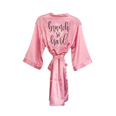 Brunch So Hard Pink Satin Kimono Robe