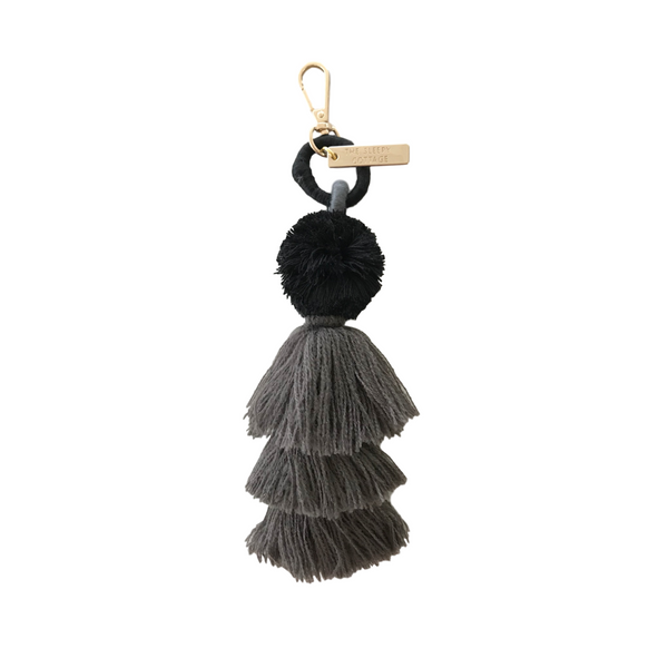 Charcoal or Crimson Tassel Bag Charm