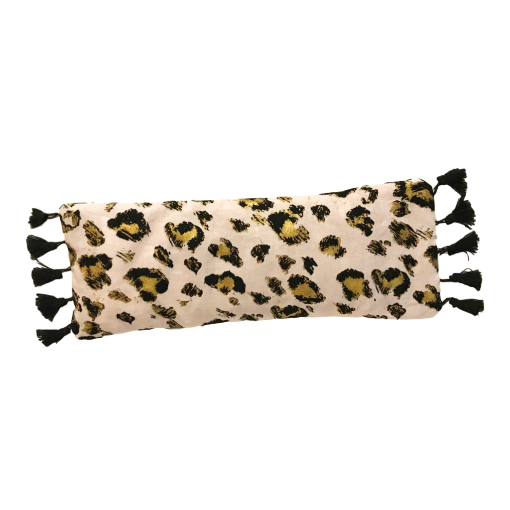 Rose Quartz Infused Tasseled Cheetah Eye Pillow