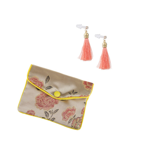 Coral Tassel Earplugs with Brocade Case