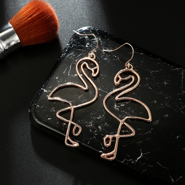 Rose Gold Flamingo Wire Earrings
