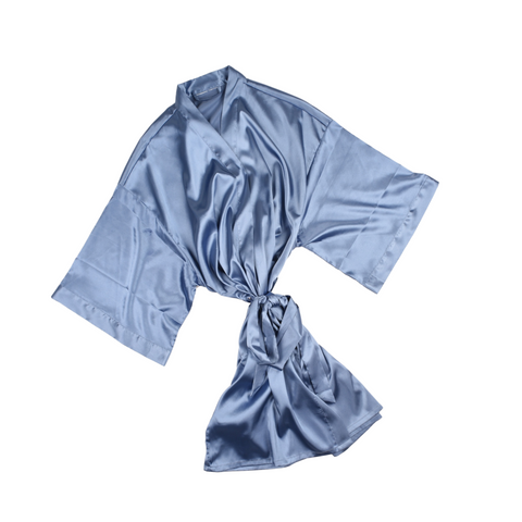 SILKY SATIN KIMONO IN FRENCH BLUE