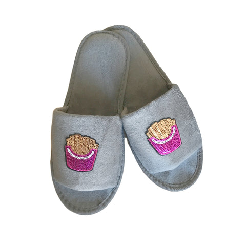 Gray Fries Sequin Slippers