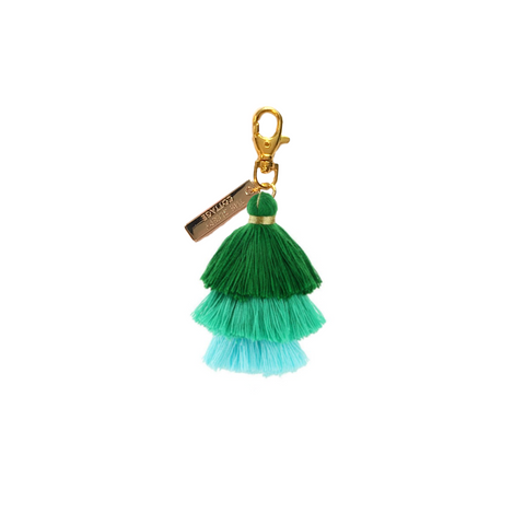 Green And Blue Pagoda Tassel Keychain And Bag Charm