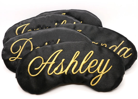 Custom Colors Satin Sleep Mask Personalized Monogram Embroidered in Classic Script Bridesmaid Wedding Gift