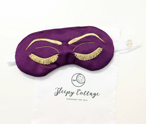 Breakfast at Tiffany's Sleep Eye Mask Inspired by Holly Golightly in Plum Purple and Gold