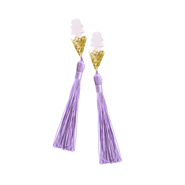 BREAKFAST AT TIFFANY'S INSPIRED LAVENDER TASSEL SLEEPING EARPLUGS