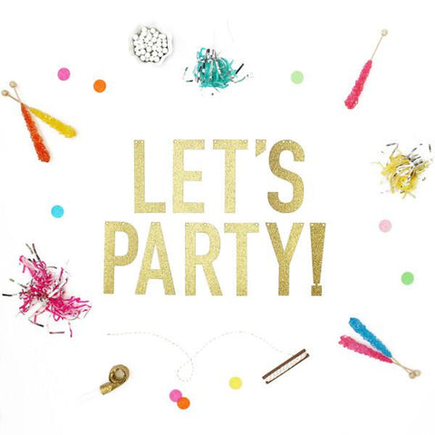 LET'S PARTY GOLD GLITTER BANNER