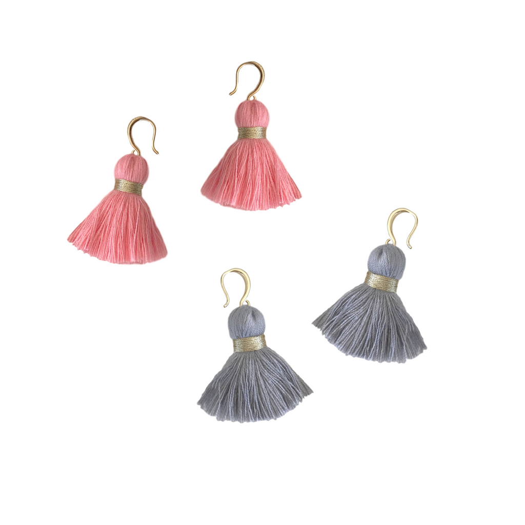 14k Chunky Cotton Tassel Earrings in Coral and Gray
