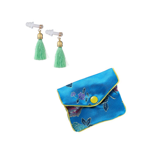 Mint Green Tassel Earplugs with Brocade Case