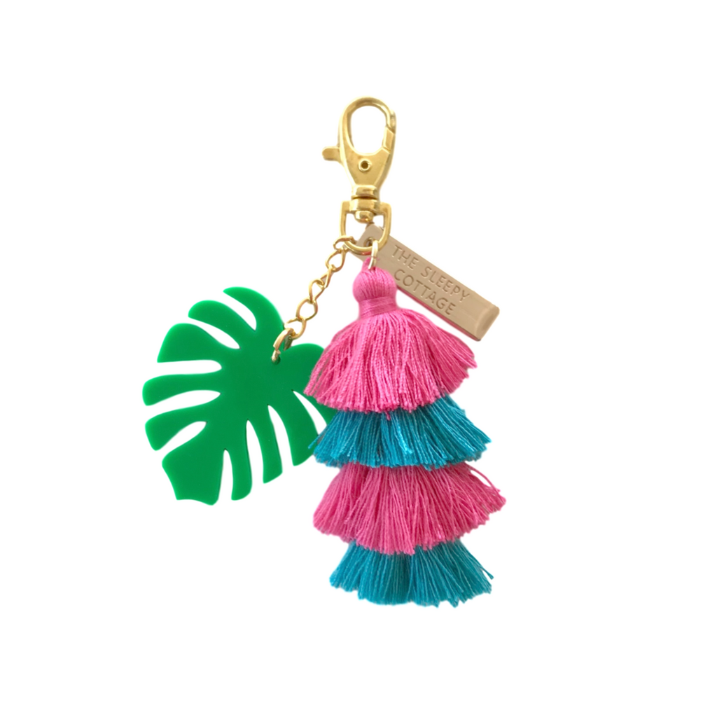 Tropical Monstera Leaf Pagoda Tassel Keychain and Bag Charm